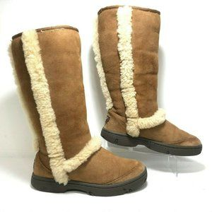 UGG Sunburst 5218 Suede Brown Shearling Tall Boots